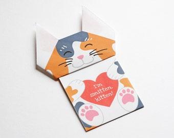 "Printable ""I'm Smitten Kitten"" DIY Origami Valentine/Anniversary Card"