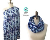 SALE Breastfeeding Cover, Nursing Cover Scarf, Nursing Scarf, Infinity Nursing, Wide Blue Chevron