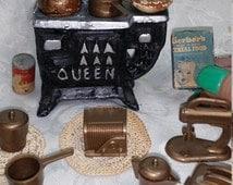 Dollhouse stove and accessories. Barbie dishes. Miniature food. Miniature toaster. Miniature radio. Dollhouse miniatures. Barbie kitchen.