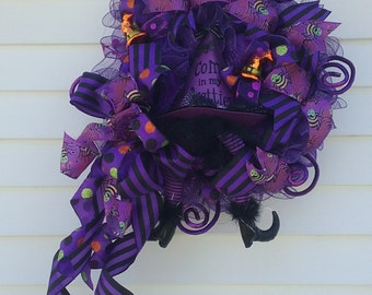 Hallowe'en Wreath, Witch Wreath, Purple Witch, COME IN PRETTIES! Deco Mesh Witch Hat & Legs Purple Hallowe'en Front Door Wreath
