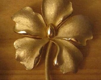 Flower Brushed Gold Tone Brooch