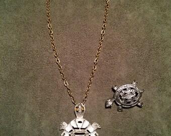L. Razza Turtle Pendant,  Turtle Pin JJ