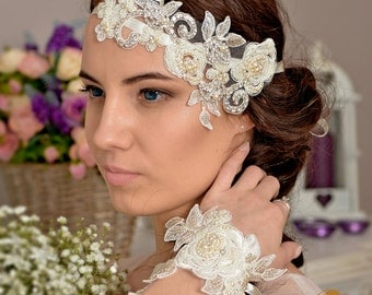 Wedding headband,  Wedding hair piece ,   Bridal headpiece,  Wedding headpiece , Bridal headband- DIVA