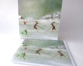"""Single Greetings Card of an original painting: """"Winter Landscape with Skaters"""""""