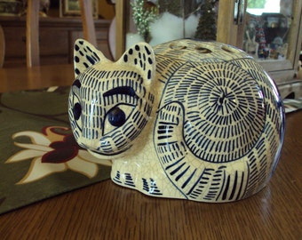 Vintage 1978 Blue and White Cat by Nancy Lopez