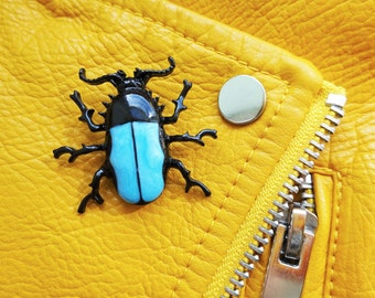Vintage Beetle Insect Fly Scarab Stag Entomology Bug Pin Badge