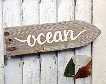 Ocean decor directional reclaimed wooden sign-hand painted pure white