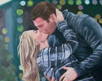 Custom engagement portrait , Custom wedding portrait , custom wedding painting , custom oil painting , custom oil portrait