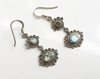 SALE-Gorgeous vintage sterling silver and abalone drop earrings