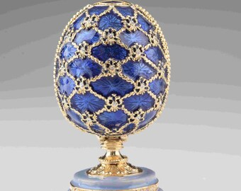Blue Faberge Egg with Castle Inside by Keren Kopal Decorated with Swarovski Crystals Gold Plated Red Enamel Painted