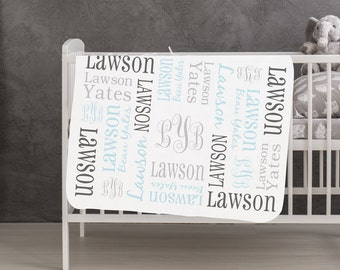 Personalized Baby Gifts Baby Boy Gift Baby Blanket Blue Gray Personalized Baby Blanket for Newborn