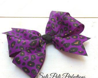 Pinwheel Bow, Cheetah Hair Bow, Purple Bow, Purple Hair Bow, Large Bow