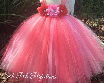 Coral Tutu Dress, Pink Tutu Dress, Flower Girl Dress, Pink and Coral Tutu Dress, Coral and Pink Flower Girl Tutu