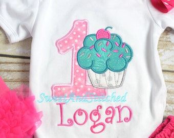 Girls 1st Birthday Cupcake Outfit - Cupcake 1st Birthday Shirt - Girl's 1st 2nd 3rd 4th 5th birthday cupcake shirt - birthday tutu outfit!