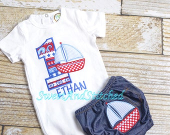 Boys sailboat 1st Birthday outfit - baby boy first birthday sailor shirt - Sailboat Birthday Shirt - 1st, 2nd, 3rd, 4th Summer birthday