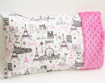 Travel or Toddler Pillowcase - Pink and Black Paris Themed - Girls Small Minky Edge Case - For 12x16 or 13x18 Inch Pillow - Toddler Gift