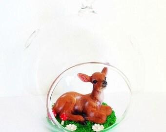 Fairy Tale Woodland Fawn Glass Globe Terrarium