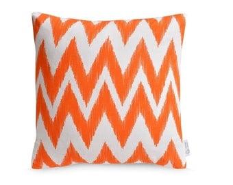 Bright Orange OUTDOOR Cushion Cover WATERPROOF Chevron Zig Zag IKAT Throw Pillow Orange Geometric Patio Decor