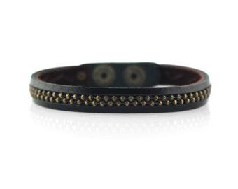 Mens Oxidized Brass Leather Bracelet in Black, Metal Ball Chain Bracelet, Presh Bracelet, Black Leather Bracelet, Mens Brass Snap Bracelet