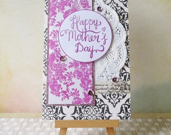 Handmade Layered Mother's Day Card - Black Floral