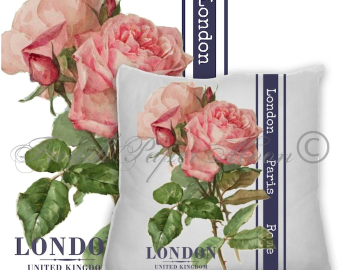 Vintage Digital Shabby Chic Roses, London Paris Rome, French Rose Pillow Image, Botanical Roses Instant Download