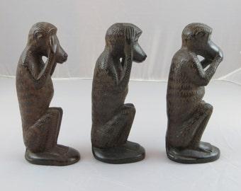 See No Evil, Hear No Evil, Speak No Evil Carved Wooden Monkeys - AFRICA