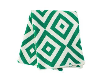 Cotton Knitted Throw Blanket - 80% Recycled Cotton Fibers - Emerald and Ivory - Diamond Eye