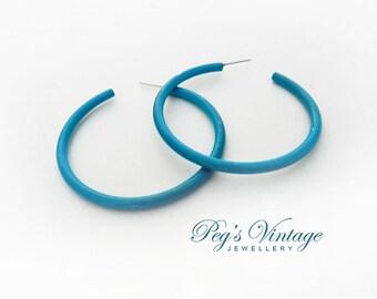 Vintage Teal/Blue Metal Hoop Earrings/Pierced Hoop Earrings