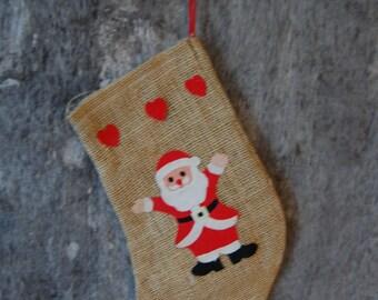 HOLIDAY SALE vintage burlap Christmas stocking with felt Santa and hearts - classic holiday decor