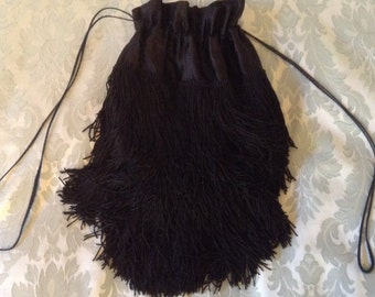 Vintage Purse Black Heavily Fringed Satin Flapper