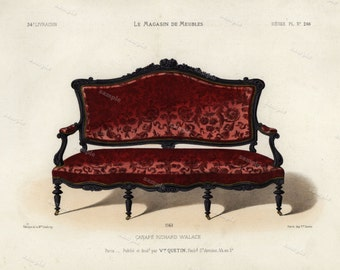 19th Century Original Antique Hand Colored Engraving  - Furniture engraving  decorative art art decor sofa  Meubles et Objets