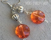 Orange Dangle Earrings, Dangle Earrings, Orange Earrings