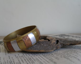 Vintage Brass Bangle - Chunky Bracelet