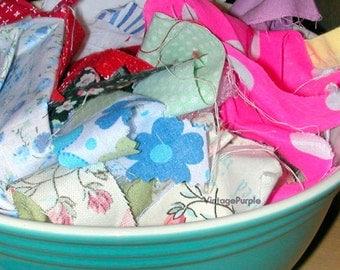 Sale - Fabric scraps crafting scrap booking supplies bunting decorative journal vintage