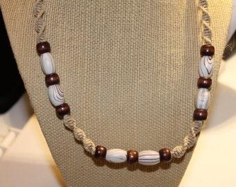 Swirl wood hemp necklace