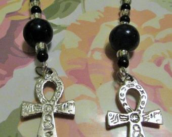 Black Beaded Dangle Ankh Earrings