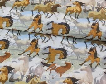 Spirit Horses on cotton lycra jersey knit fabric - UK seller