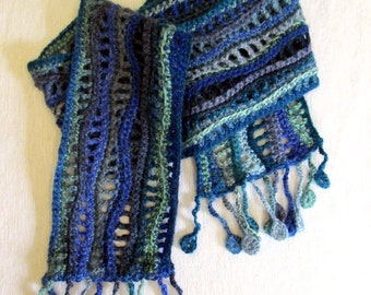 Crochet Scarf. Ocean Blue Green and Grey Scarf with Wave Pattern and Disk Fringe. Fashion scarf Boho Scarf Wool scarf Blue Crochet scarf