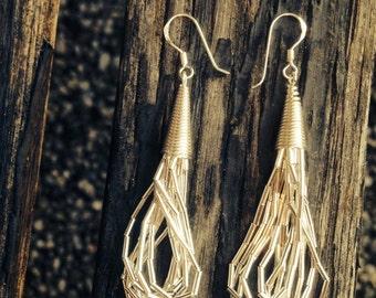 Sterling silver liquid silver drop earrings