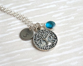 Personalized Tree Necklace, Best Friend Charm Necklace, Tree Necklace with Birthstone and Initials Mother Necklace Birthstone Necklace