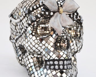 Lifesize Mirror Mosaic Skull with Silver Bow and Pearls