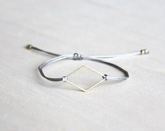 friendship bracelet rhomb, brass geometric bracelet, customizable jewelry, best friend gift, minimal bracelet