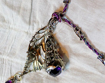 Silver Set of 2 pendant with amethyst