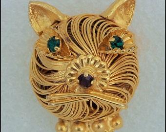 ON SALE Vintage Gold Tone Wire Green Eyed Rhinestone Kitty Cat Head Brooch Pin