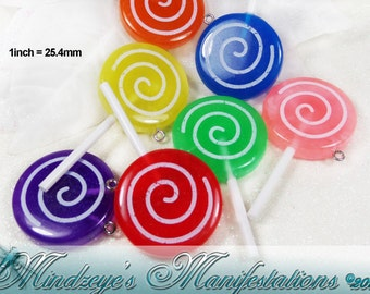 Resin Lolli Pop Pendant/Charms 54x30x7mm