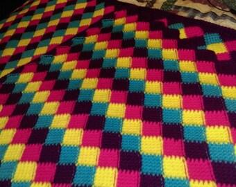 Tunisian Crochet Entrelac Afghan