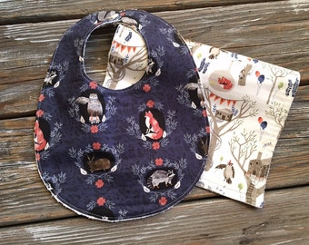 Bib/Burp Cloth Combo/Gift Set ~ Foxtail//Woodland//Party//Forest