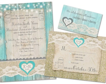 Vintage Wood / Lace / Teal Customizable Wedding/RSVP/Insert