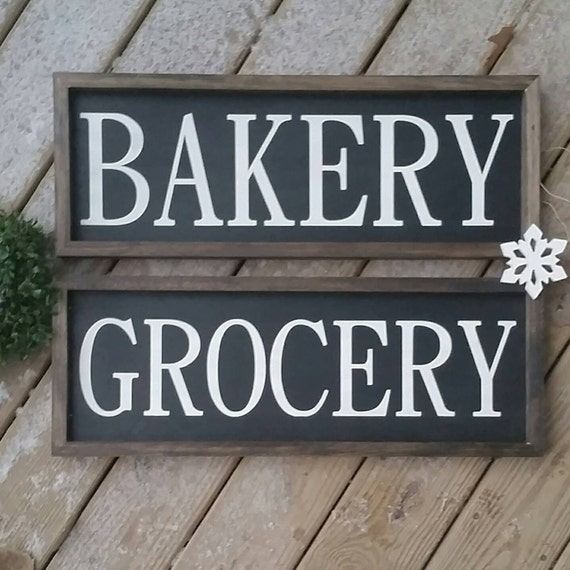 Kitchen Décor Bakery Sign Grocery Sign Rustic Wood Sign