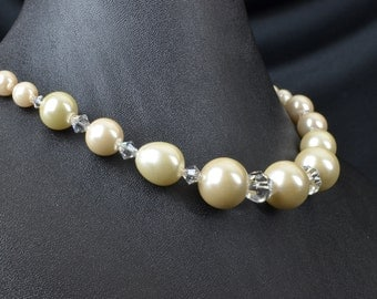 Swarovski Crystal and White Glass Pearl Necklace and Earring Set